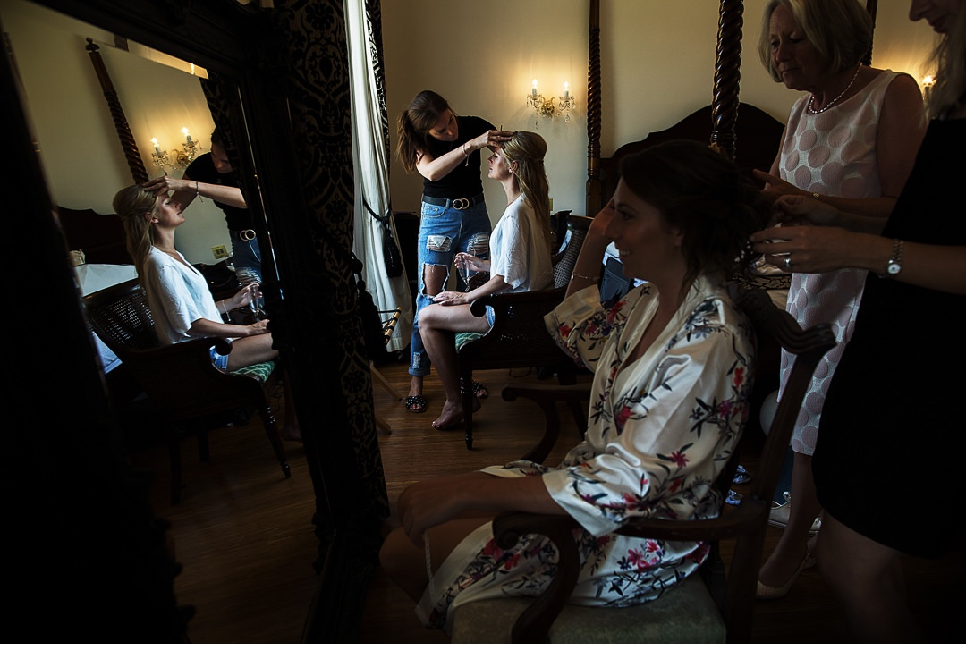 The bridal party gets ready at Botleys Mansion with Miss Sunshine from the Gemma Sutton Pro Team xx