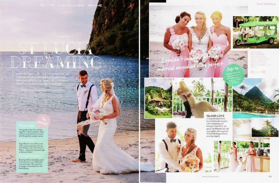 Gemma Sutton Beautiful St Lucia Bride in a feature magazine
