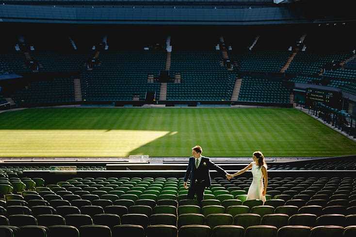 The groom and his bride in Centre Court, Wimbledon wedding