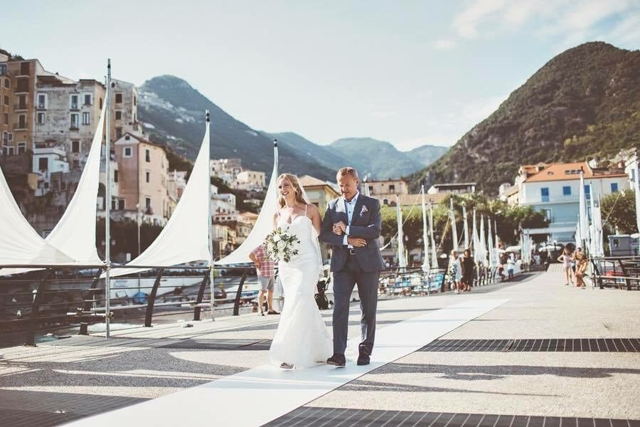A Long nervous walk down the aisle with my father - Minori Pier, Amalfi Coast, Italy xx