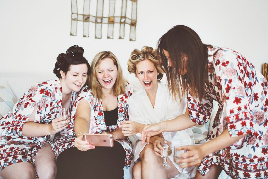 Wedding morning fun with my bridesmaids and my hair in rollers - Minori, Amalfi Coast, Italy